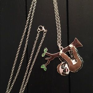 "28"" Necklace with Enamel Sloth Pendant"